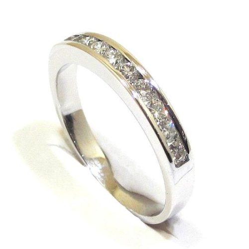 Anillo alianza oro blanco 18k diamantes en carril