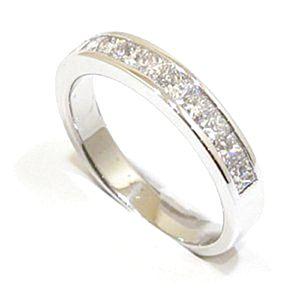 Anillo alianza oro blanco 18k con diamantes talla princesa