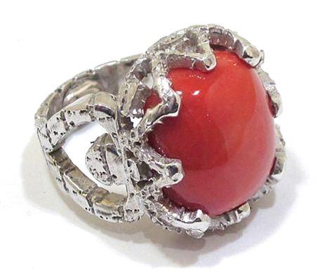 anillo de plata 925 rodiada y coral