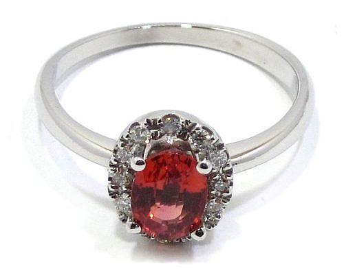 anillo oro blanco zafiro padparadsha con brillantes