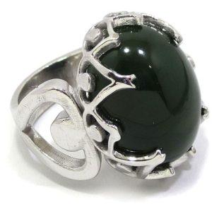 Anillo Plata de Ley 925 Jade Nefrita verde oscuro