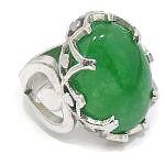 Anillo Plata de Ley 925 Jade Nefrita verde intenso