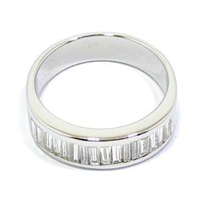 Alianza oro blanco diamantes baguette