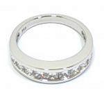 Alianza oro blanco diamantes princesa