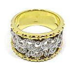 Anillo oro amarillo y blanco diamantes