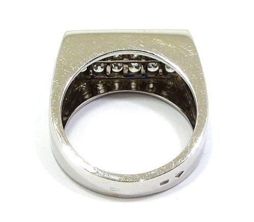 Anillo oro blanco diamantes rectangular