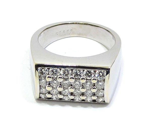 Anillo oro blanco diamantes rectangular