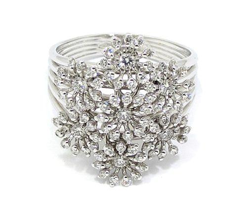anillo oro blanco orlas diamantes