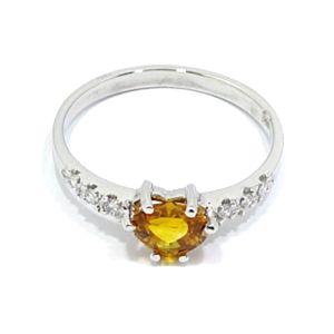 anillo oro blanco zafiro amarillo talla corazon diamantes