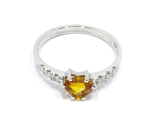 dfe0a4364d9f anillo oro blanco zafiro amarillo talla corazón y diamantes - Bueno ...