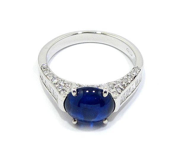 eaaf6f92ba17 Anillo oro blanco zafiro diamantes - Bueno Joyeros
