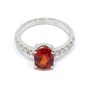 anillo oro blanco zafiro padparadsha diamantes