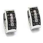 Pendientes oro blanco diamantes blancos negros