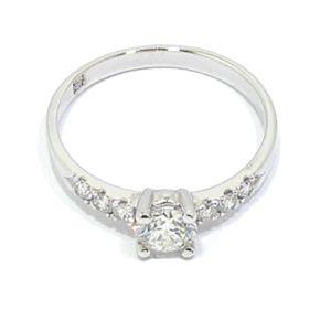 Anillo solitario oro blanco 18K diamantes 4 garras
