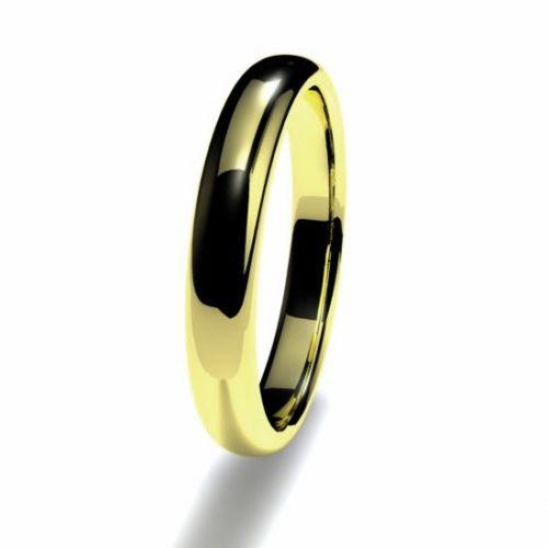 Anillo alianza oro amarillo 18K 3mm seccion redonda alta n12