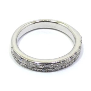 Alianza doble de oro blanco 18k con diamantes