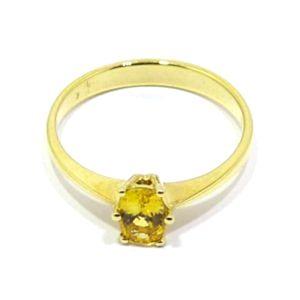 Anillo de oro amarillo 18k con zafiro amarillo oval