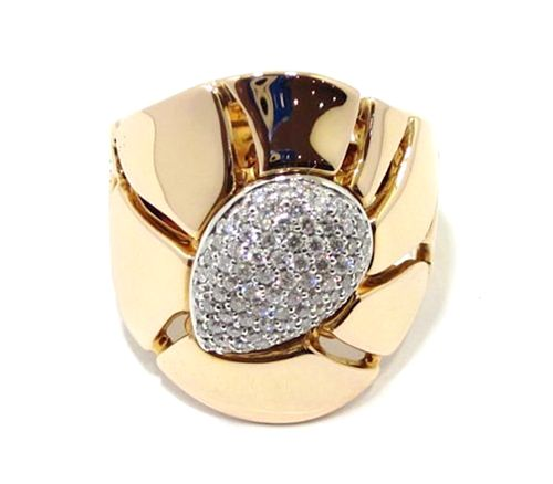 Anillo de oro rosa 18k con centro pavé de diamantes by Centoventuno