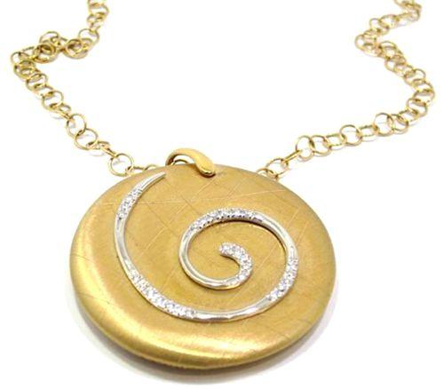 Collar de oro rosa 18k con colgante redondo con espiral de diamantes by PVG