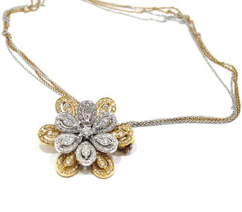 Collar de oro rosa y blanco 18k con colgante petalos con diamantes