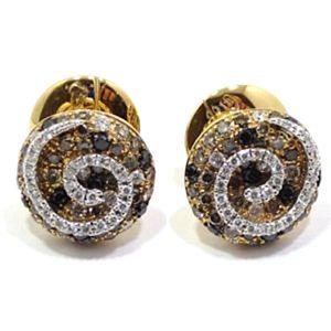 Pendientes de oro rosa 18k con espiral de diamantes blancos y color