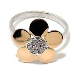 Anillo oro blanco/rosa 18K flor con diamantes