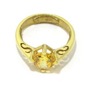 Anillo de plata 925 chapada en oro con circonita amarilla