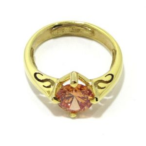 Anillo de plata 925 chapada en oro con circonita anaranjada