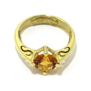 Anillo de plata 925 chapada en oro con circonita miel
