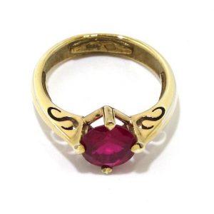 Anillo de plata 925 chapada en oro con circonita roja