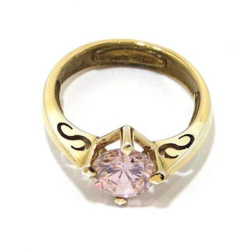 Anillo de plata 925 chapada en oro con circonita rosa claro
