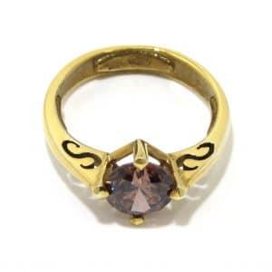 Anillo de plata 925 chapada oro con circonita rosa oscuro