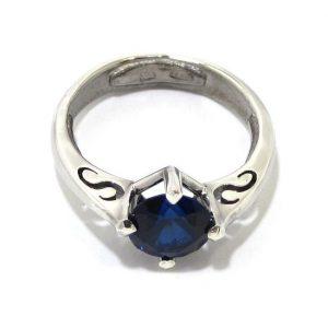 Anillo de plata 925 con circonita azul marino
