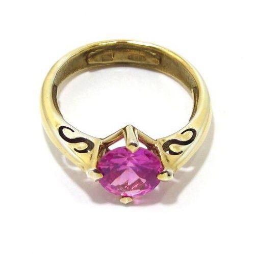 Anillo de plata 925 chapada en oro con circonita rosa