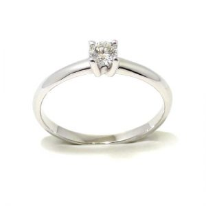 Anillo solitario oro blanco 18K diamante talla brillante 0,22 ct