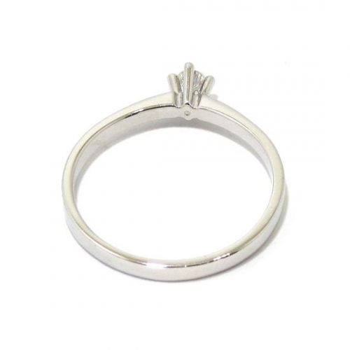 Anillo solitario oro blanco 18K diamante talla brillante 0,05 ct