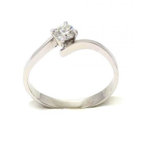 Anillo solitario oro blanco 18K diamante talla brillante 0,25 ct