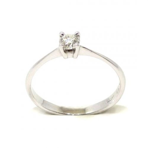 Anillo solitario oro blanco 18K diamante talla brillante 0,21 ct