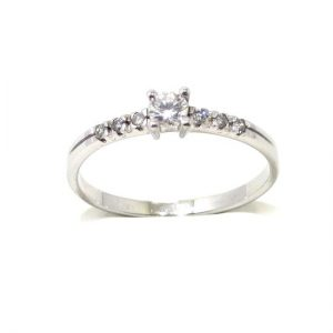 Anillo solitario oro blanco 18K diamante talla brillante 0,12 ct con diamantes