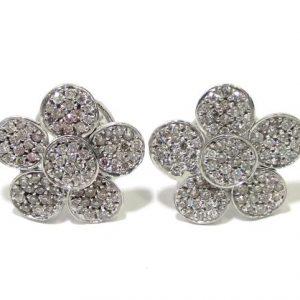 Pendientes oro blanco 18K con diamantes flor