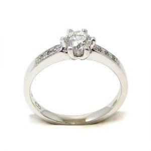 Anillo solitario oro blanco 18K con diamante talla brillante 0,50ct con diamantes