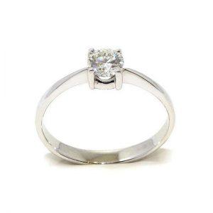 Anillo solitario oro blanco 18K con diamante talla brillante 0,40ct