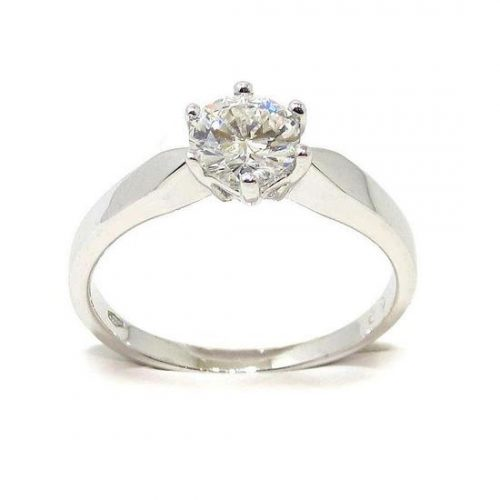 Anillo solitario oro blanco 18K con diamante talla brillante 0,73ct
