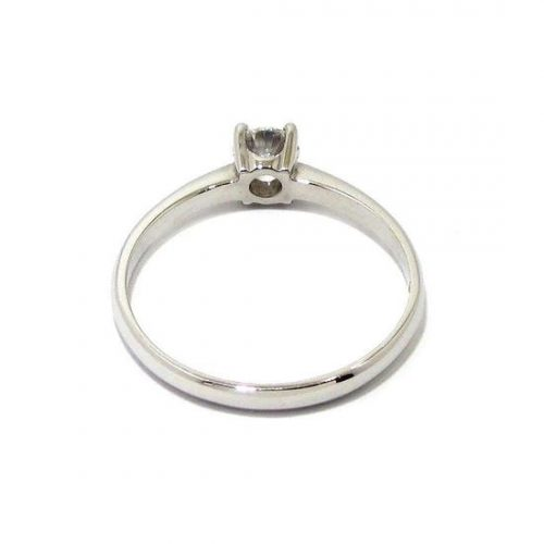 Anillo solitario oro blanco 18K con diamante talla brillante 0,27ct