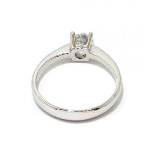 Anillo solitario oro blanco 18K con diamante talla brillante 0,50ct