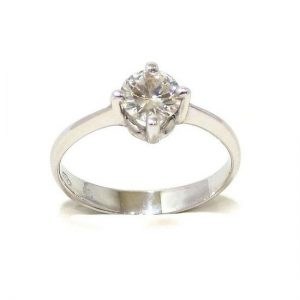 Anillo solitario oro blanco 18K con diamante talla brillante 0,58ct