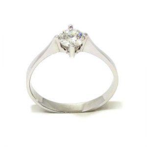 Anillo solitario oro blanco 18K con diamante talla brillante 0,37ct