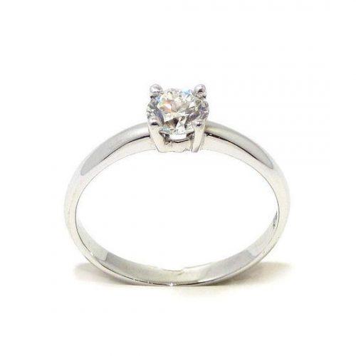 Anillo solitario oro blanco 18K con diamante talla brillante 0,45ct