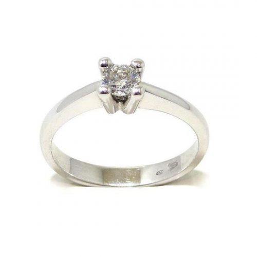 Anillo solitario oro blanco 18K con diamante talla brillante 0,23ct