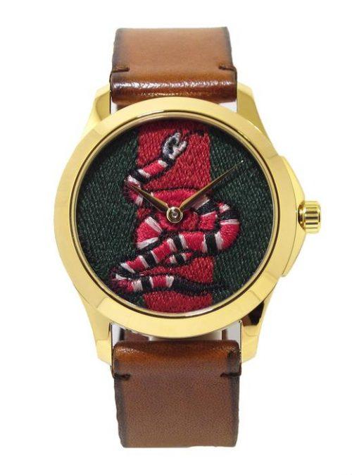 Reloj GUCCI Timeless serpiente 38mm PVD amarillo correa piel YA1264012